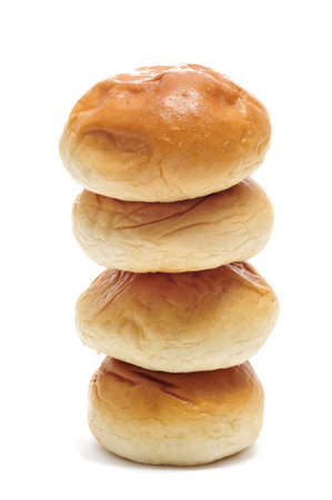 a pile of breakfast rolls on a white background Stock Photo - 9066440