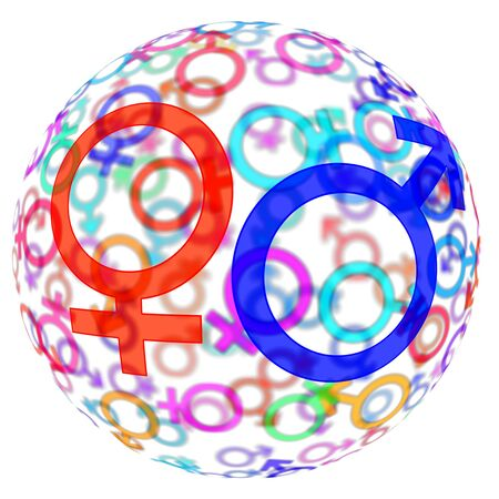 procreation: male an female symbols of different colors drawn in a sphere on a white background Stock Photo