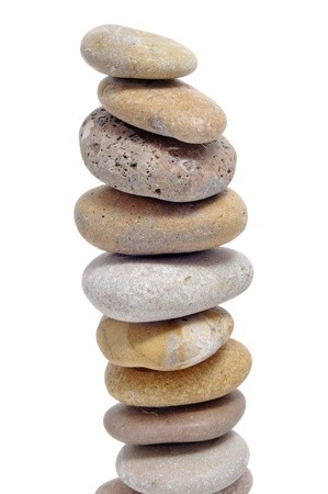 a pile of zen stones on a white background Stock Photo - 9079761