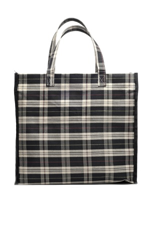 checkered cloth shopping bag on a white background photo