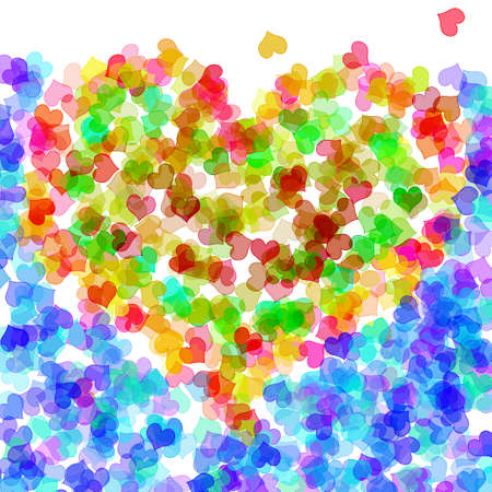 lovingly: hearts of different colors forming a heart