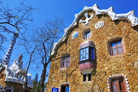 gaudi: Barcelona, Spain - March 19, 2011: The famous Park Guell in Barcelona, Spain. The impressive and famous park was designed by Antoni Gaudi Editorial