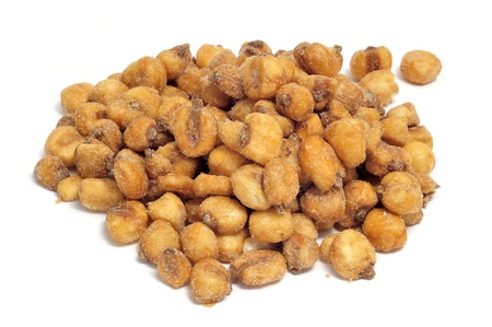 toasted: a pile of toasted salted corn on a white background