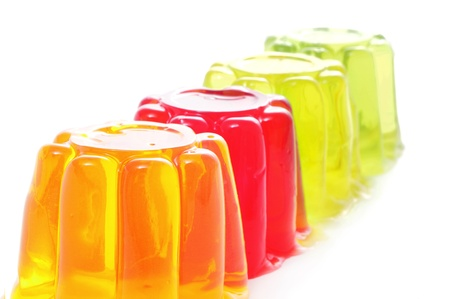 jellies: closeup of gelatin of different colors on a white background Stock Photo