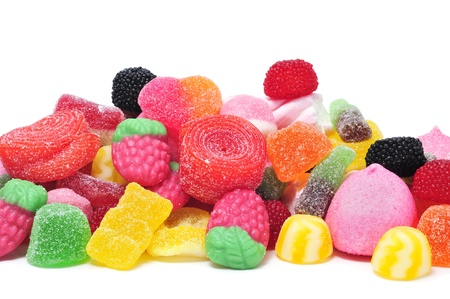 marshmallows: a pile of candies on a white background