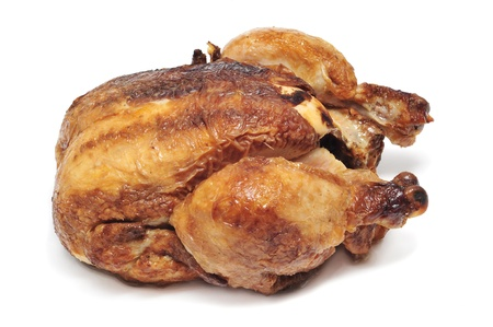 roast chicken: a roast chicken on a white background Stock Photo
