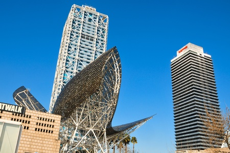 Barcelona, Spain - January 22, 2011: Hotel Arts and Torre Mapfre in Barcelona, Spain. The Hotel Arts is a 44-story, 483 room luxury hotel on the seafront of Barcelona.