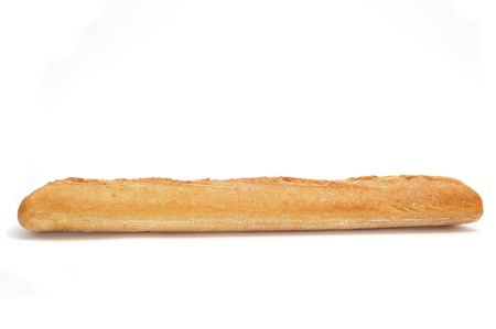 closeup of a baguette on a white background