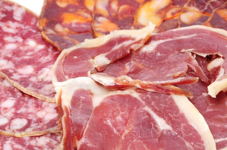 embutido: a pile of different spanish embutido, jamon, chorizo and salchichon Stock Photo