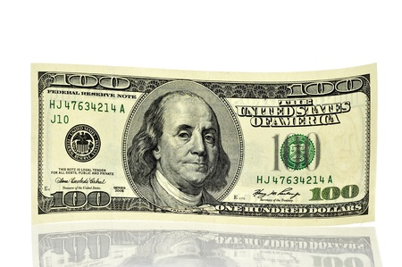 a one hundred dollars note on a white background Stock Photo - 9261418
