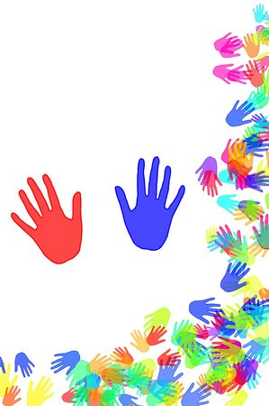 hands of different colors drawn on a white background Stock Photo - 9261410