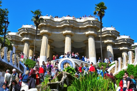 antoni: Barcelona, Spain - March 19, 2011: The famous Park Guell in Barcelona, Spain. The impressive and famous park was designed by Antoni Gaudi Editorial