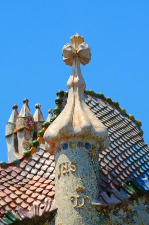 Barcelona, Spain - May 23, 2010: The roof of Casa Batllo in Barcelona, Spain. This building was designed by the famous architect Antoni Gaudi.