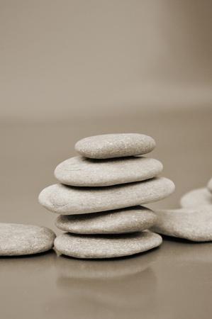 closeup of a pile of zen stones photo