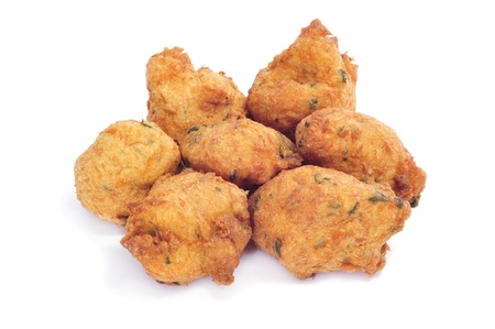 fritters: a few cod fritters on a white background Stock Photo