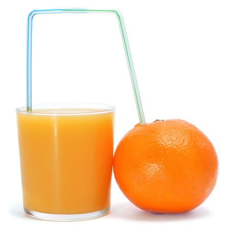a straw: a glass of freshly squeezed orange juice