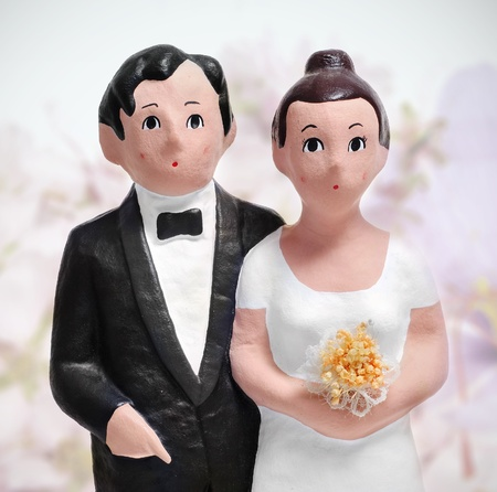 closeup of a couple wedding cake topper photo