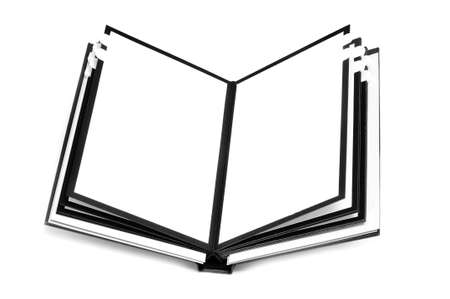 closeup of a blank notebook on a white background photo