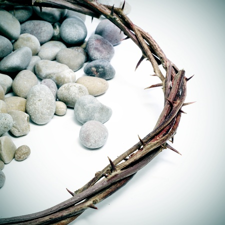 crucis: close up of a representation of the Jesus Christ crown of thorns with pebblestones