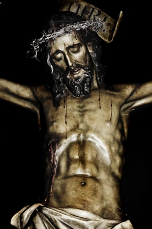 golgotha: closeup of a figure of Jesus Christ
