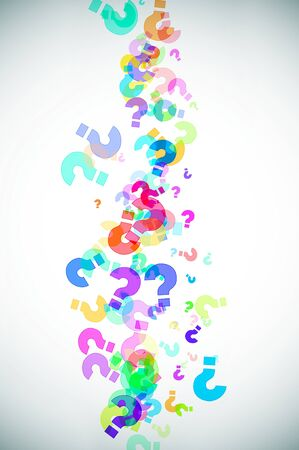 interrogatory: question marks of different colors background