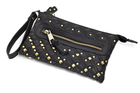 decorated black purse on a white background photo
