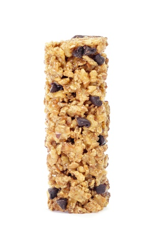 energy bar: a cereal bar on a white background