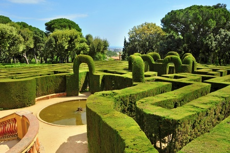 labyrinthine: Barcelona, Spain - April 15, 2011: Desvalls Palace in Parc del Laberint dHorta in Barcelona, Spain. This palace hosted receptions to the sovereigns of Spain on three occasions since its construction in 1791.