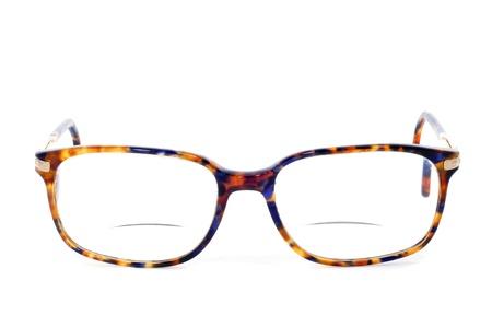 poblíž: bifocal glasses on a white background