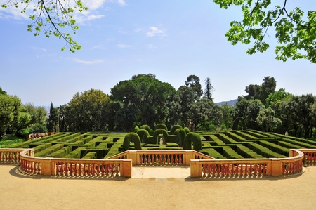labyrinthine: Barcelona, Spain - April 15, 2011: Parc del Laberint dHorta in Barcelona, Spain. Those gardens hosted receptions to the sovereigns of Spain on three occasions since its construction in 1791. Editorial