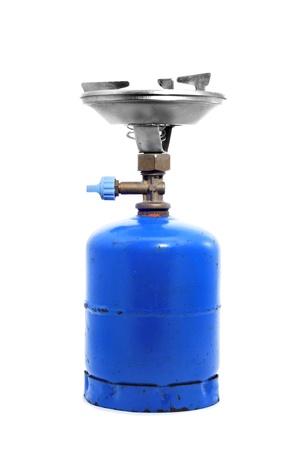 cilindro de gas: un port�til estufa sobre un fondo blanco