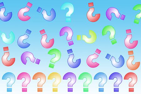 interrogatory: question marks of different colors drawn on a blue background