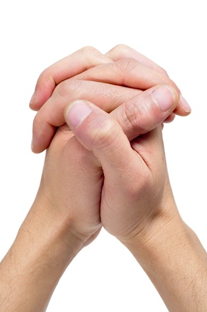 men hands together symbolizing prayer photo