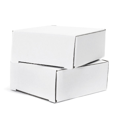 some white cardboard boxes on a white background photo