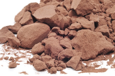 clod: cocoa powder on a white background