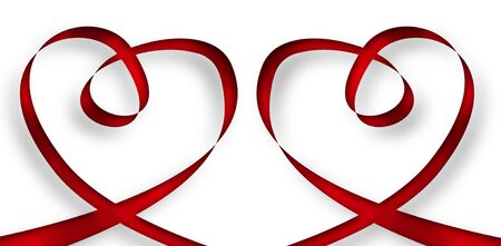 illustration of two hearts made with red ribbon on a white background illustration