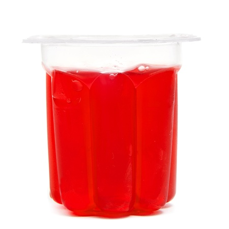 a red gelatin on a white background photo