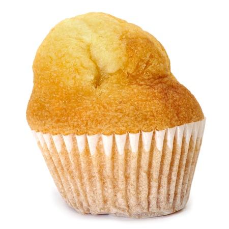 madalena: closeup of a plain cupcake on a white background Stock Photo