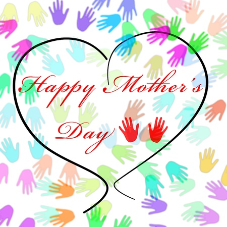 full day: Happy mothers day written inside a heart and a background full of hands of different colors