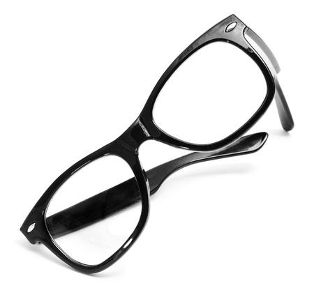 occhiali da vista: occhiali neri su sfondo bianco