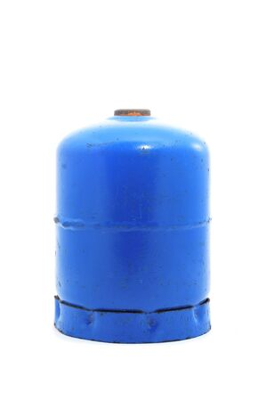 a gas cartridge for a portable stove on a white background photo