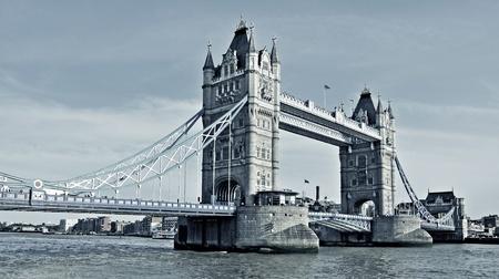 cable bridge: a view of Tower Bridge in London, United Kingdom Stock Photo