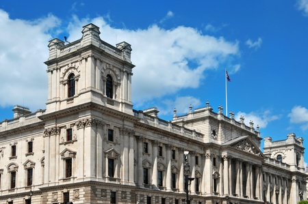 the majesty: a view of HM Treasury headquarters in London, United Kingdom