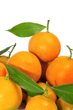 closeup of a pile of tangerines on a white background