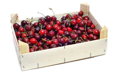 wooden box: a crate with cherries on a white background