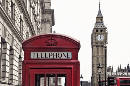 united kingdom: a view of Big Ben and a classic red phone box in London, United Kingdom