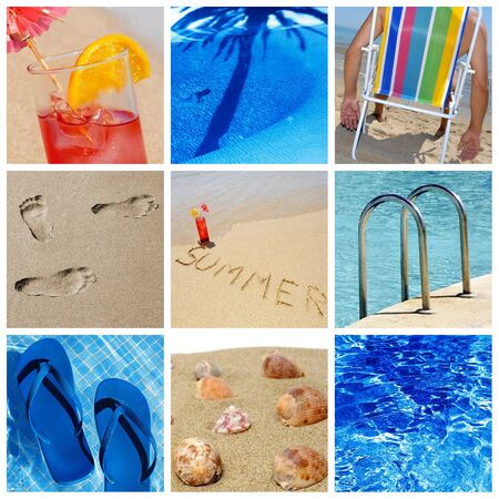 a collage of nine pictures of many beach items and scenes Stock Photo - 9550313
