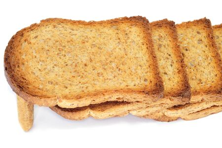 breadstick: a breadstick holding a pile of bread rusks