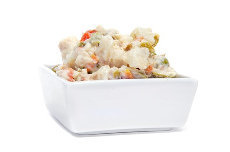 potato salad: a bowl with ensaladilla rusa, russian salad, typical tapas in Spain