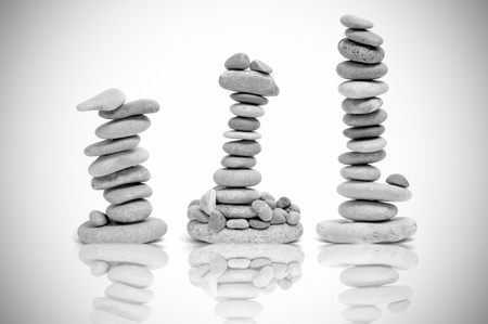 stacks of zen stones in black and white Stock Photo - 9594145